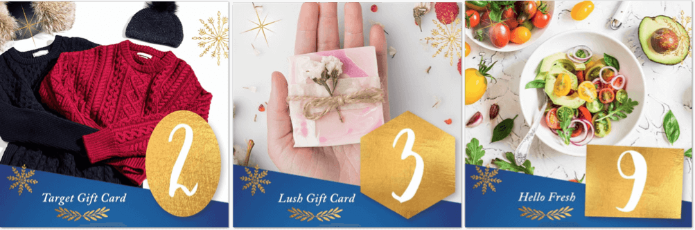 12 days of Christmas giveaways Facebook prizes