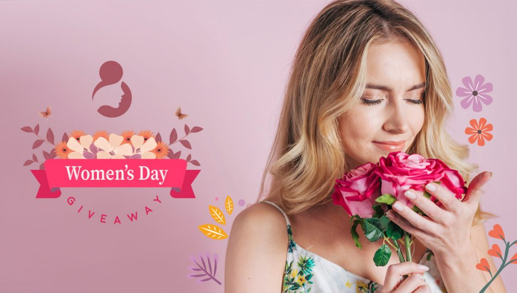 Ready-made image for an International Women's Day giveaway on Facebook