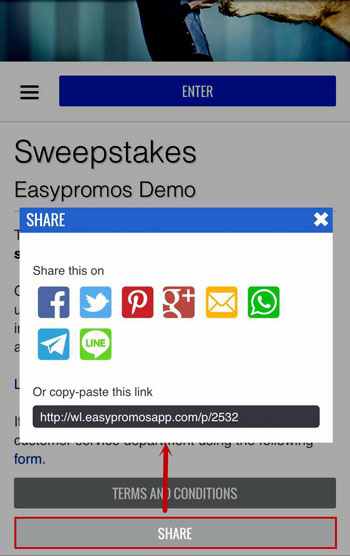 Share and invite via Whatsapp - Easypromos