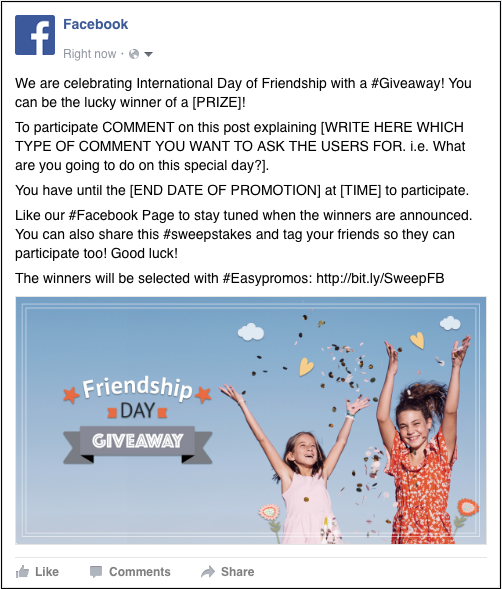 "Example of the Easypromos Friendship Day giveaway template for Facebook. The main image shows two young girls waving their arms against a backdrop of blue sky and flowers, with the overlay text ""Friendship Day giveaway"". The caption invites people to comment and answer a question to win."