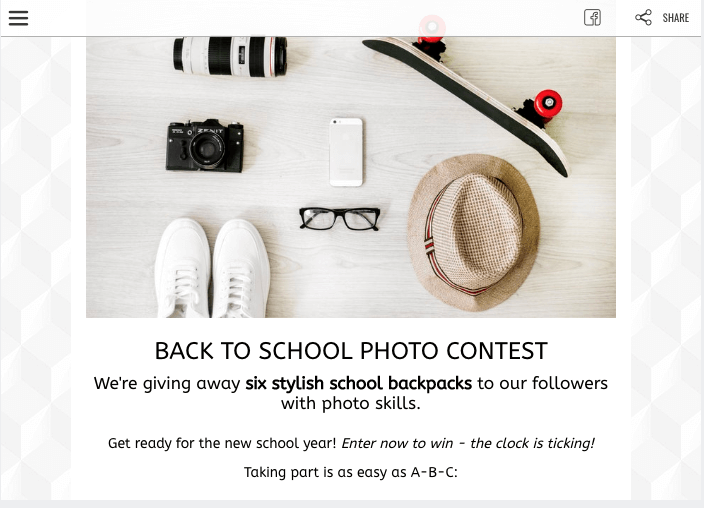 Back to School campaign ideas: a screenshot of a photo contest landing page