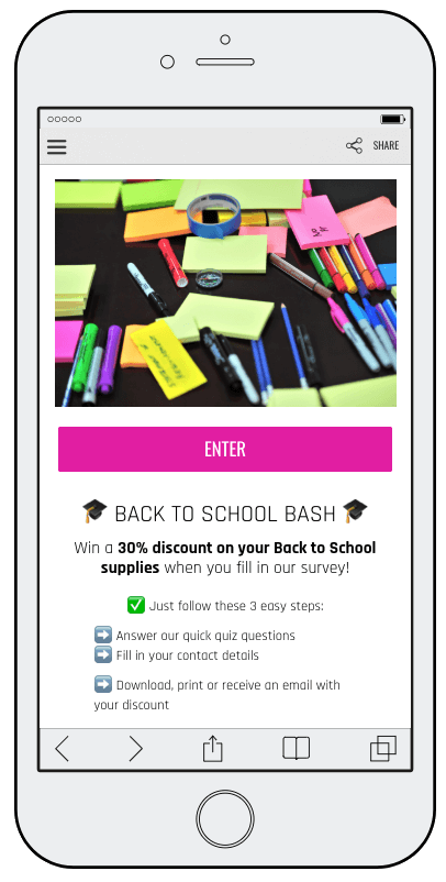 Back to School campaign ideas: a screenshot of a mobile survey