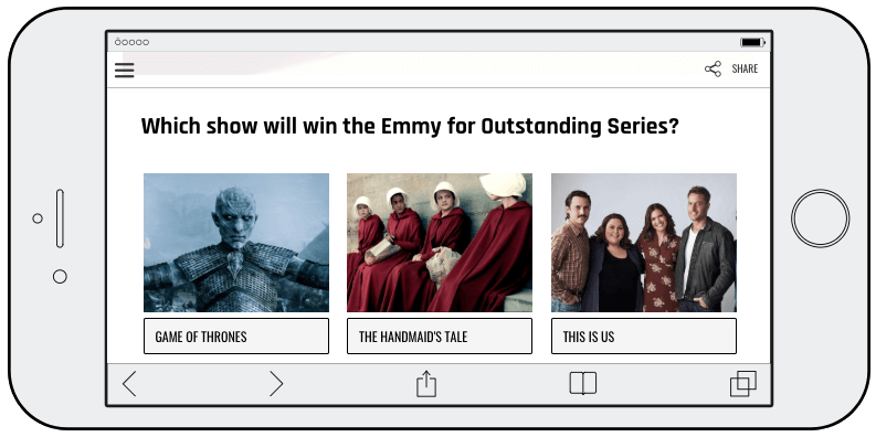 Screenshot of an Emmys predictions contest on a mobile screen. The question asks users to pick the winner of the Emmy for Outstanding Series: Game of Thrones, the Handmaid's Tale, or This Is Us.