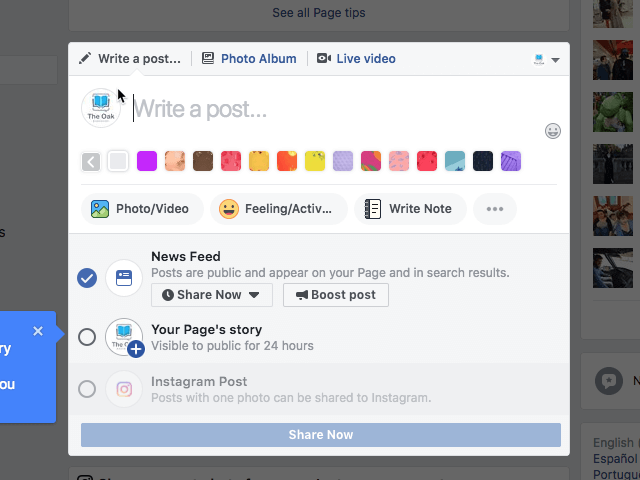 Cross-post on Facebook Stories and Instagram Stories