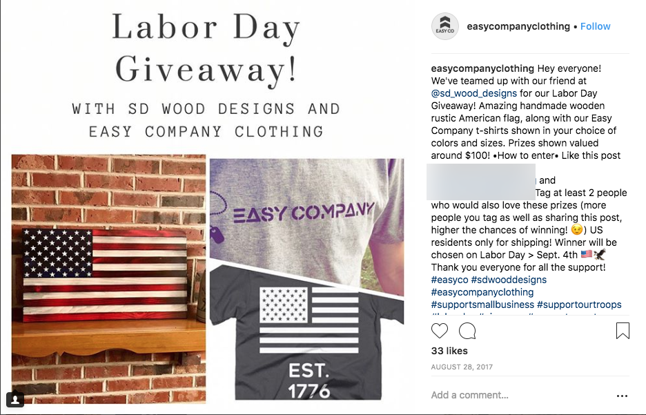 Labor Day contest giveaway announce winners Instagram