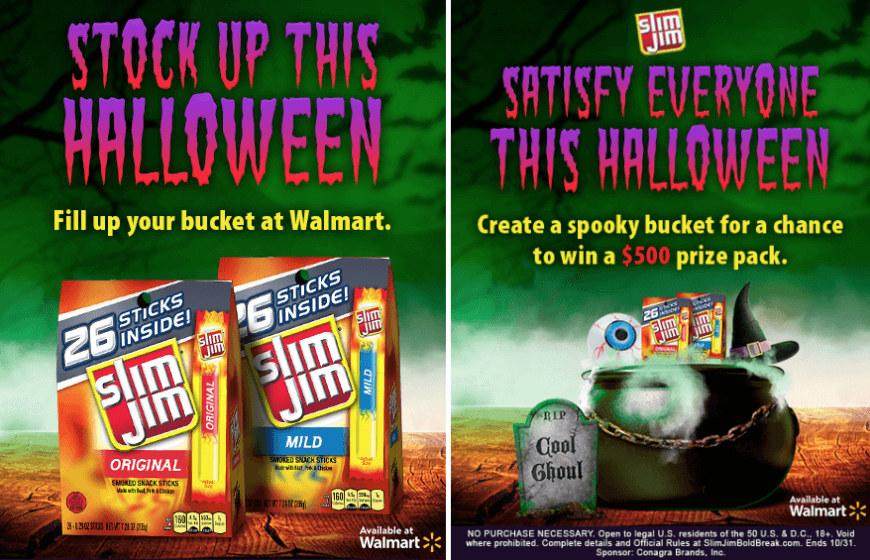 "Screenshot of a Halloween sales survey. Participants can win $500 worth of Halloween prizes when they answer survey questions and design their own ""spooky bucket"" full of goodies."