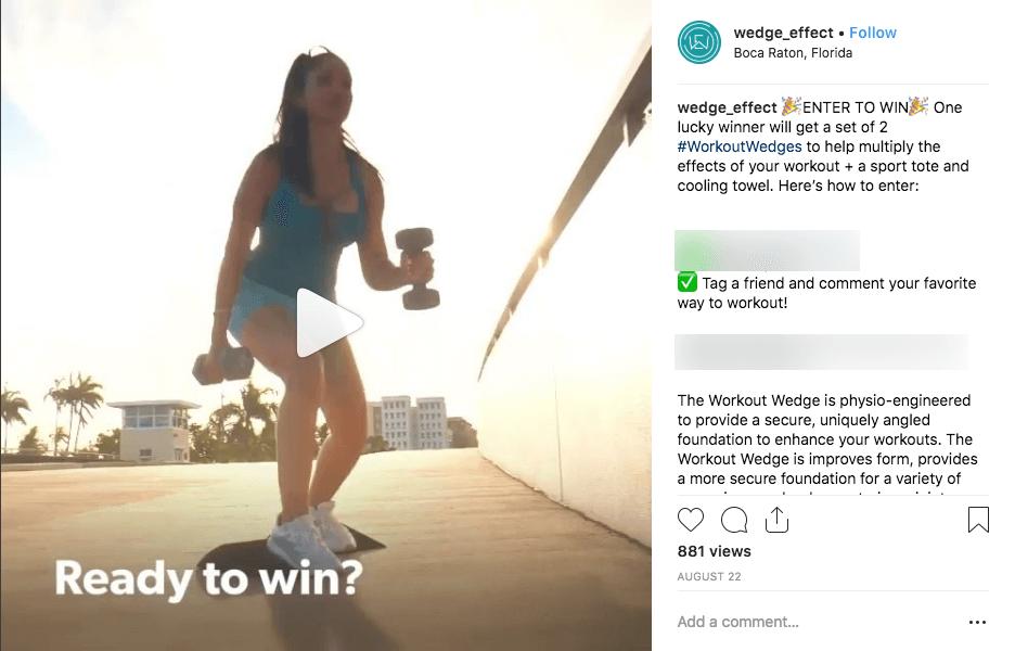 Sports fitness marketing Instagram giveaway