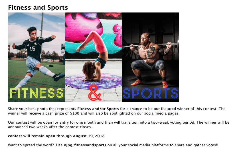 Fitness marketing sports photo contest