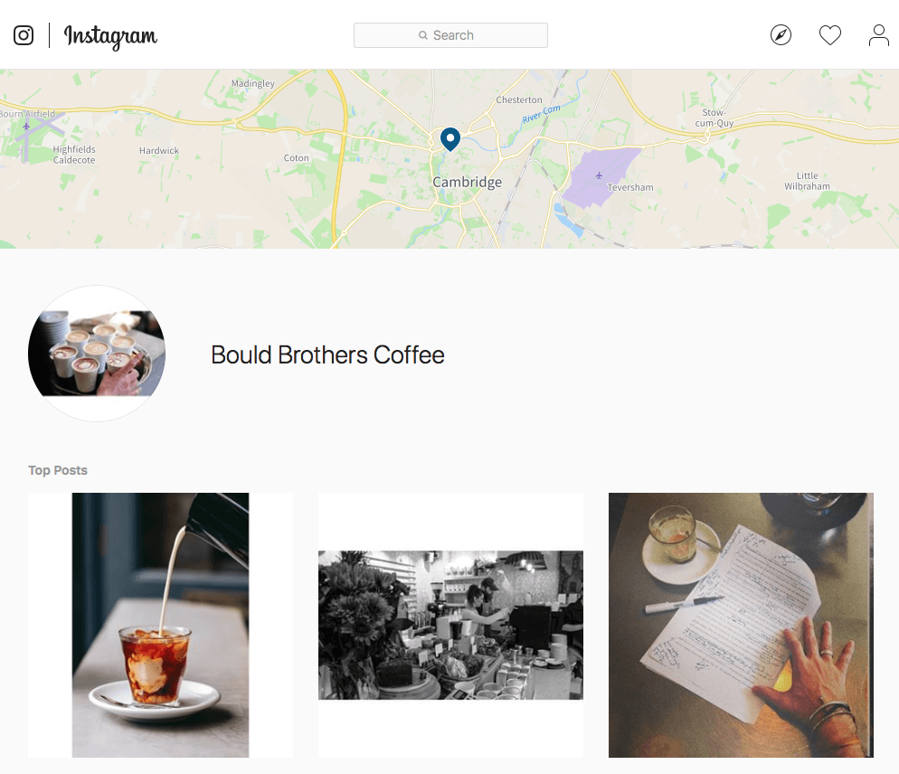 Bould Brothers Coffee uses their location tag on Instagram to collect user-generated content and build publicity.