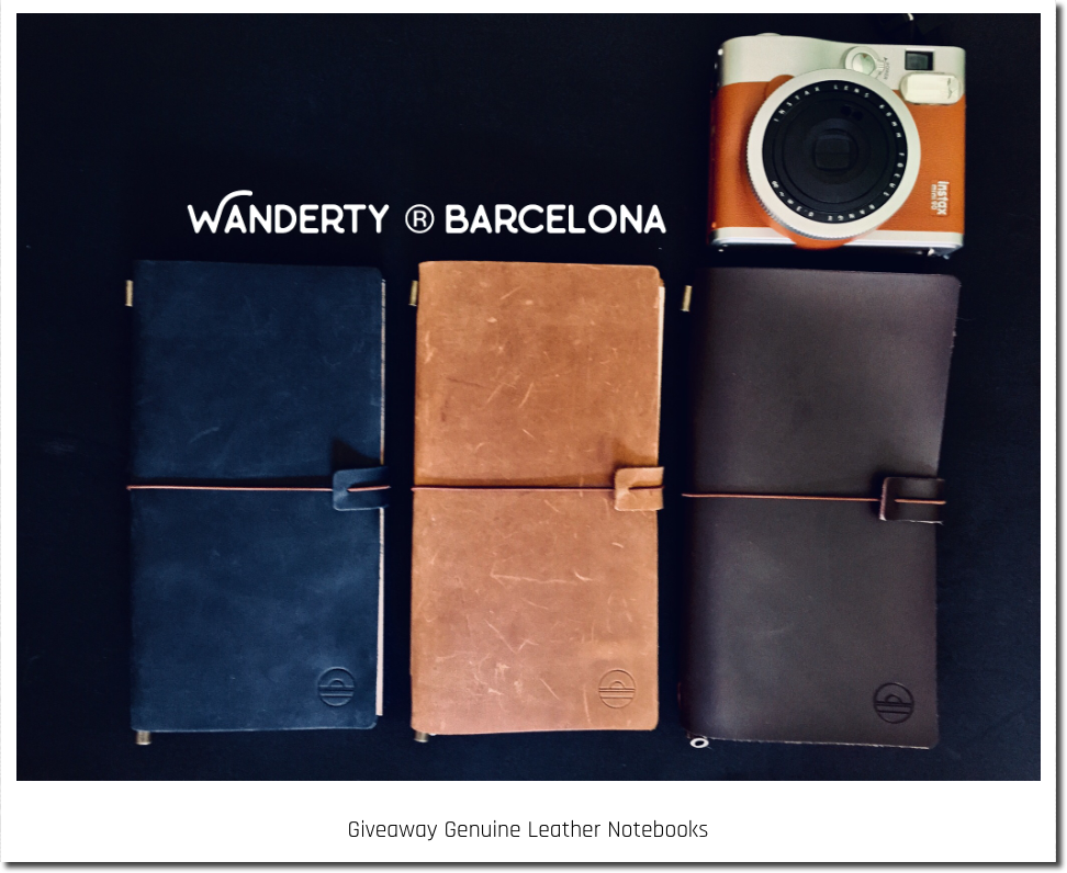 "The image shows 3 leather notebooks in different colors, beside a vintage camera. The text reads, ""Wanderty Barcelona giveaway genuine leather notebooks""."