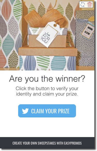 "Screenshot of the Claim Your Prize page. The image shows a stack of gift boxes labelled, ""Just For You"". The text reads, ""Are you the winner? Click the button to verify your identity and claim your prize"". At the bottom of the page is a blue button with the Twitter logo, which reads ""Claim Your Prize""."