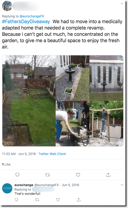 Example of a user response. The user shares photos and a comment describing how their father updated their garden while they were sick.