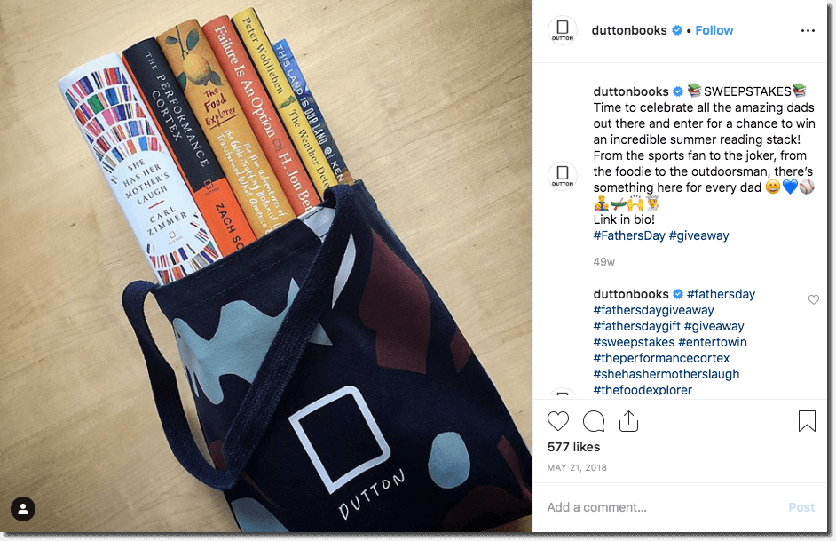 Example of a Father's Day promotion on Instagram. The brand, a book publisher, offers a set of books to read for the summer. Users can join the giveaway through the link in the brand's bio.