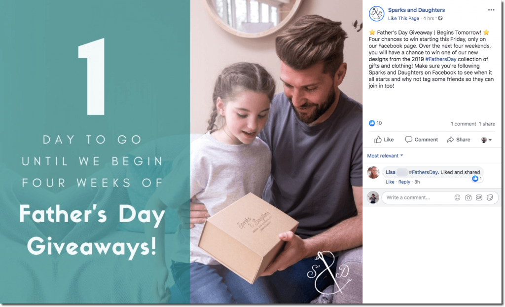 "Father's Day promotion ideas for Facebook. The image shows a father and daughter opening a parcel together. The overlay text reads, ""1 day to go until we begin four weeks of Father's Day giveaways!"""