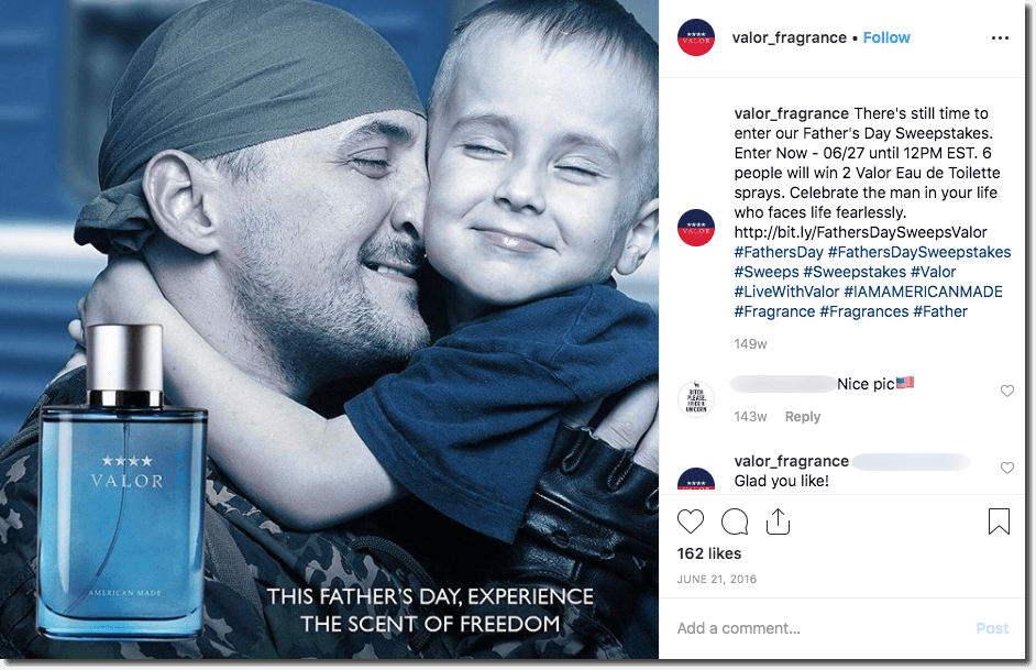 Father's Day promotion ideas on Instagram. The image shows a father hugging his young son, with an inset image of a cologne bottle. The text invites users to enter a giveaway of 2 cologne sets.