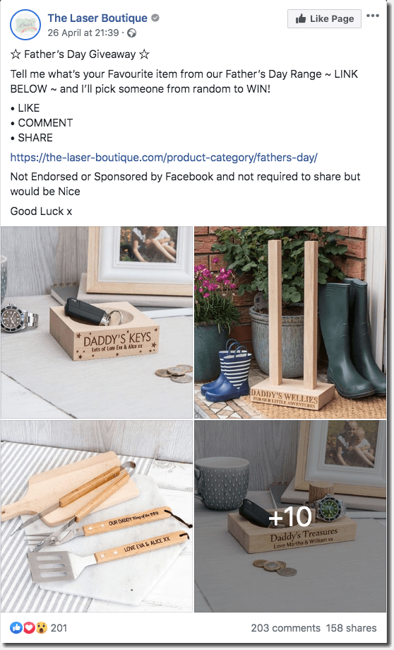 Father's Day promotion ideas on Facebook. The images show an extensive range of Father's Day gifts. Users are invited to comment with their favorite gift, for a chance to win it. They are optionally invited to share.