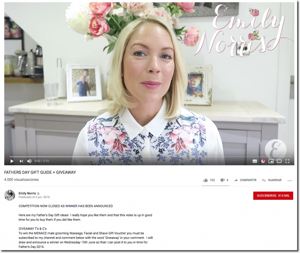 "Father's Day promotion ideas on YouTube. The image shows a young woman in a room decorated with flowers and family photos. The video is titled ""Father's Day gift guide + giveaway"". The caption descrbies how to join a giveaway by commenting on the video."