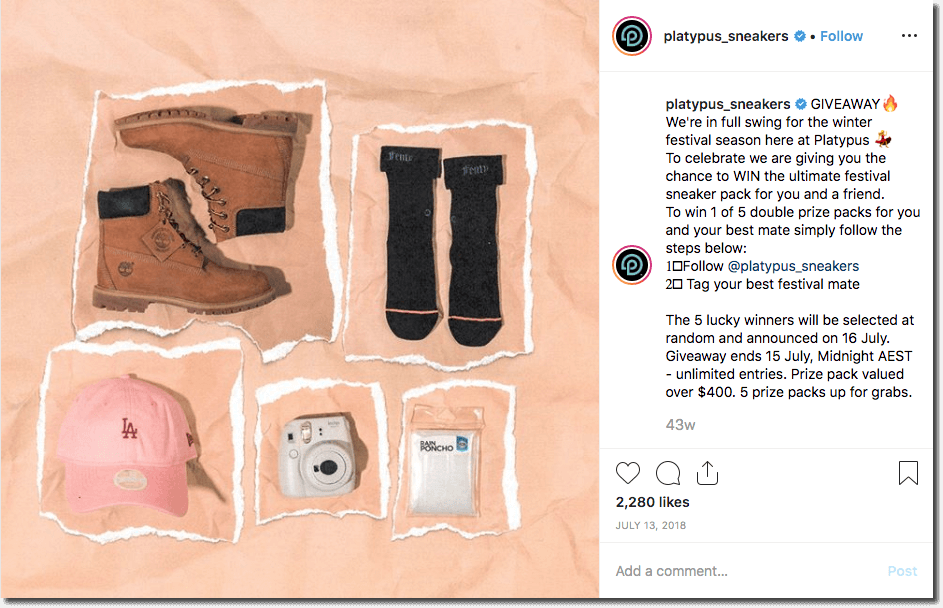 Example of a festival brand partnership on Instagram. The image shows a bundle of prizes from a sneakers brand. They invite people to win one of 5 festival prize packs by commenting and tagging their best festival buddy.