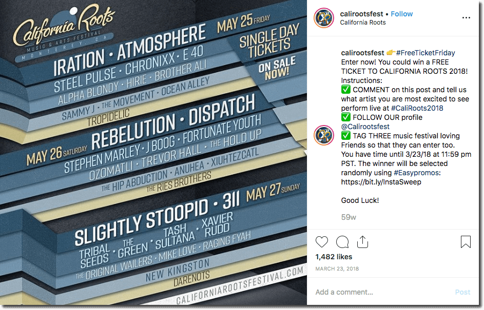 Example of a festival promotion with an Instagram giveaway. The image shows the event poster with a list of acts. The caption asks users to comment and say which artist they are most excited to see perform live.