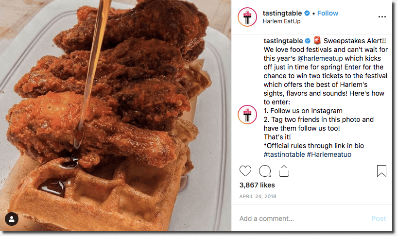 Another example of a festival brand partnership on Instagram. The image shows fried chicken with waffles and maple syrup. In the caption, a restaurant invites users to win tickets to a local food festival by commenting and tagging 2 friends.