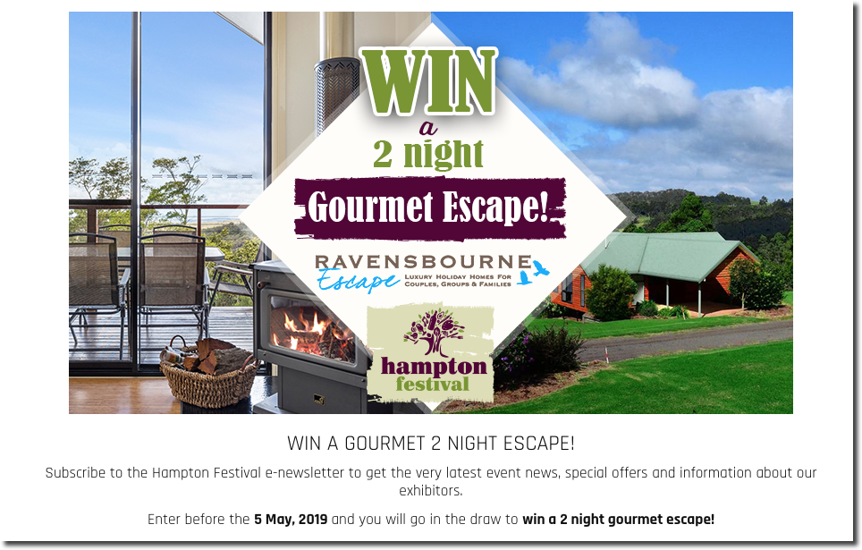"Example of a festival promotion. The banner image shows a luxury holiday home, with the overlay text: ""Win a 2 night gourmet escape!"" Below, the text explains that users can enter the prize draw when they sign up to the festival's newsletter."