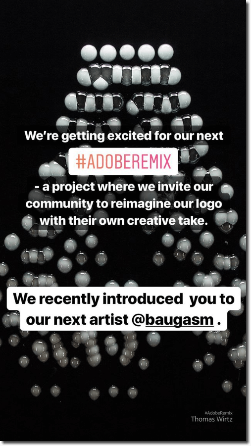 Screenshot of an Instagram Story by Adobe, announcing their hashtag Adobe Remix project for artists to mix up the Adobe logo.