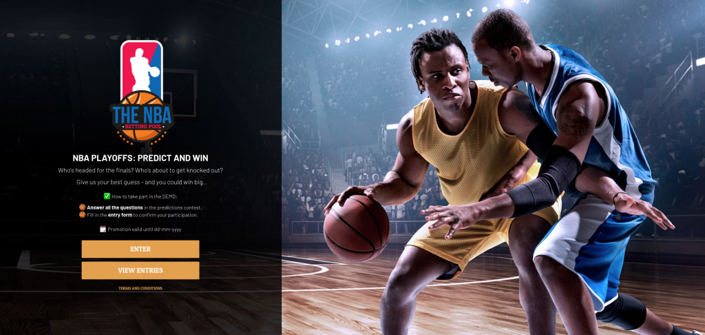 "Homepage of an NBA predictions contest. On the left, a black container holds the title ""NBA PLAYOFFS: PREDICT AND WIN"". There are 2 orange buttons, marked ENTER and VIEW ENTRIES. On the right, there is a photograph of two men playing basketball."