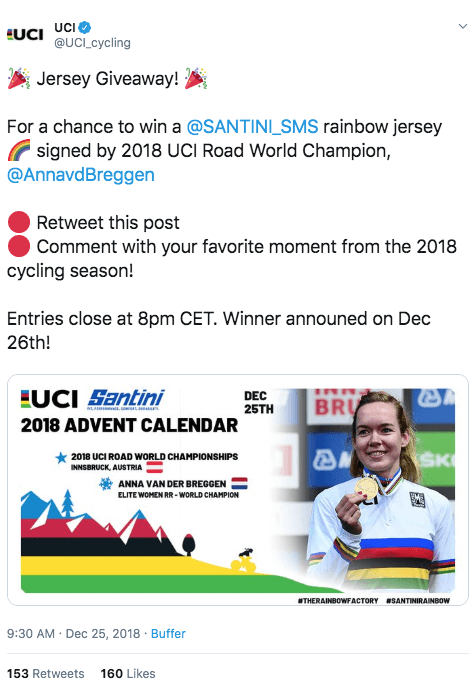Social media cycling giveaway
