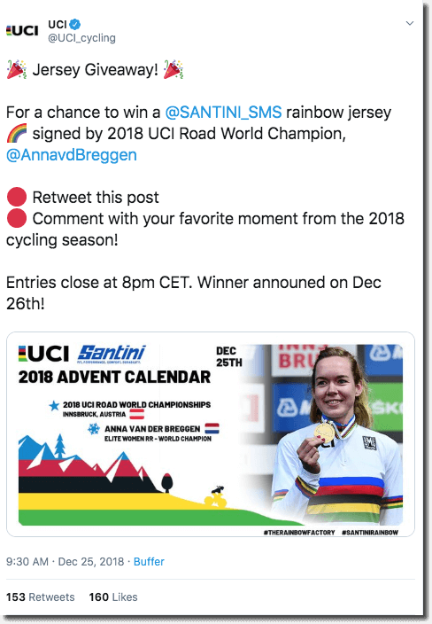 Screenshot of a Twitter giveaway by a cycling brand. The caption invites users to retweet and reply with their favorite moment from the 2018 cycling season, for the chance to win a jersey signed by Anna van der Breggen.