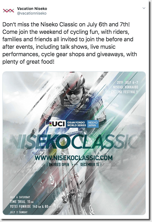 Screenshot of a Twitter post announcing the Niseko Classic, a week of festival events for cycling enthusiasts.