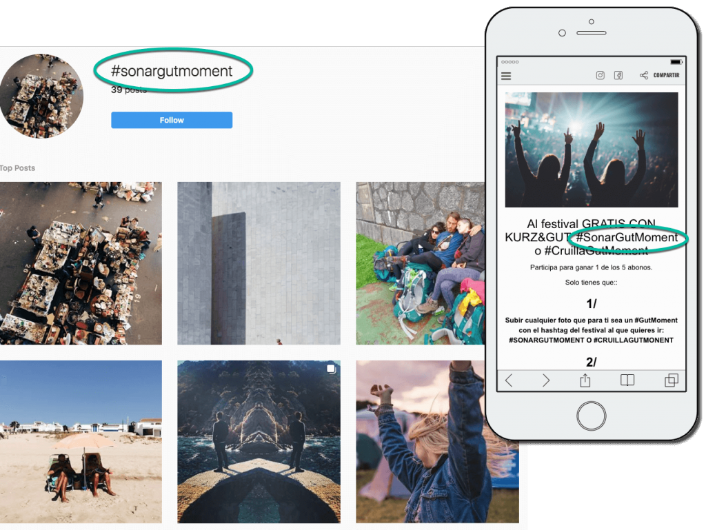 Screenshots from a summer photo contest on Instagram. The main image shows a collection of photos on Instagram with the hashtag #sonargutmoment. An inset screenshot from a mobile phone shows the contest landing page, asking people to post photos with that same hashtag.