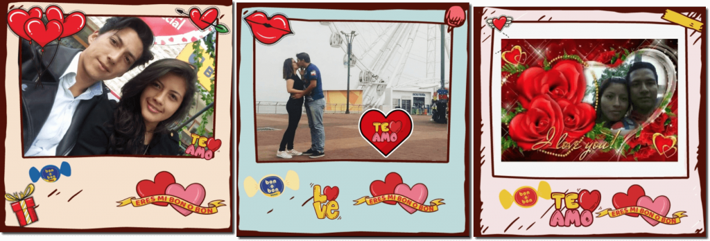 3 images from a virtual photobooth created by a chocolate brand. Each photo is of a young couple, decorated with heart-shaped stickers and the brand logo.