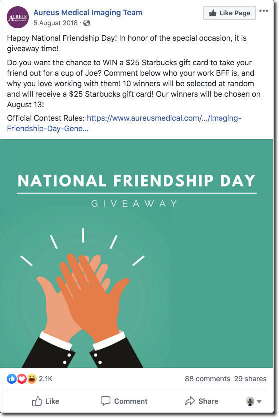 Screenshot of a Facebook giveaway for Friendship Day. The main image is a cartoon of two hands high-fiving. The caption invites people to comment who their work BFF is, and why, for the chance to win a Starbucks gift card.