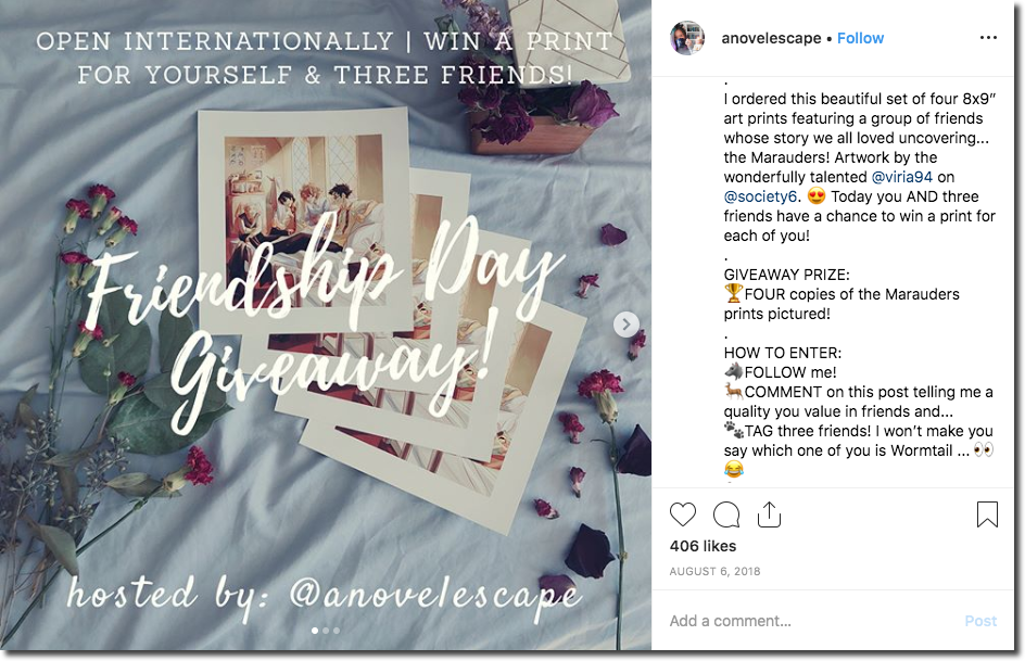 Screenshot of an Instagram giveaway for Friendship Day. The image shows 4 fan art prints of Harry Potter, against a white sheet and with a bouquet of roses. The overlay text and caption explain that people can win the prints by commenting and tagging 3 friends.