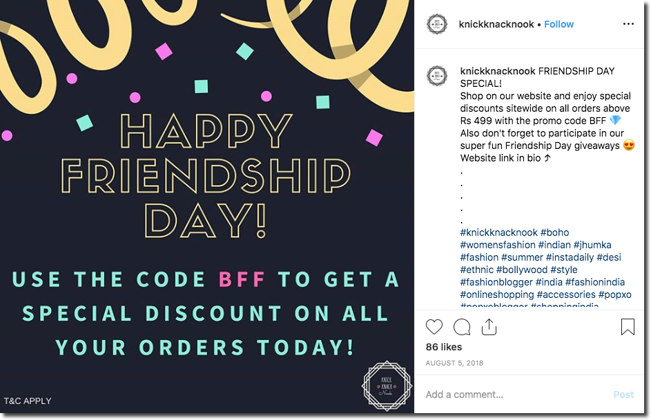 "Example of an in-store promotion for Friendship Day, advertized on Instagram. The photo and caption explain that people can get discounts with the code ""BFF"""
