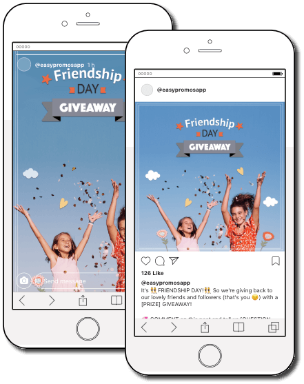 Preview of the Friendship Day Instagram giveaway templates in use.