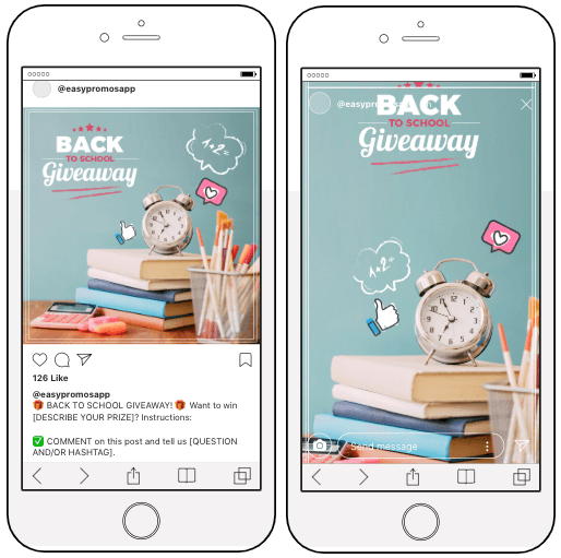 Screenshots of Easypromos templates for a Back to School giveaway on Instagram posts and Stories.