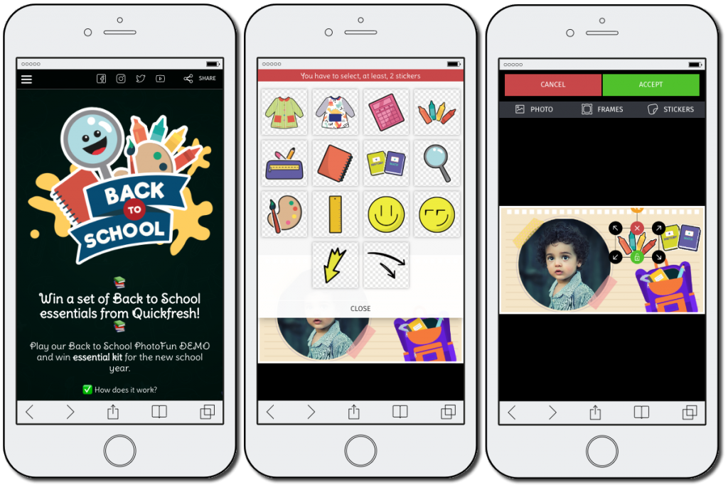Back to School promotion ideas: mobile screenshots from a PhotoFun game, showing how users can decorate photos with themed stickers.