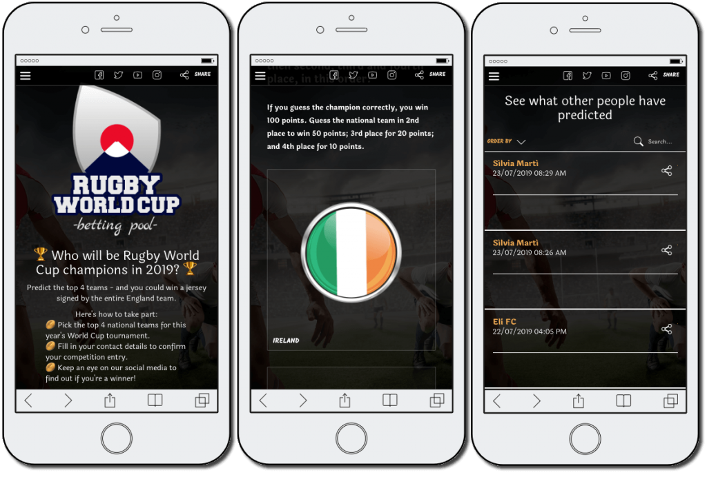 Mobile screenshots from a Rugby World Cup predictions contest. The images show a landing page, an example of a question, and a final page where users can view other people's predictions.