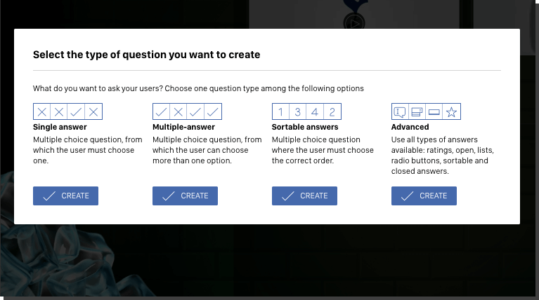 Screenshot from the Easypromos quiz app editor to create a product recommender. Question options include single answer, multiple answer, sortable answers, ratings, open questions, lists and radio buttons.