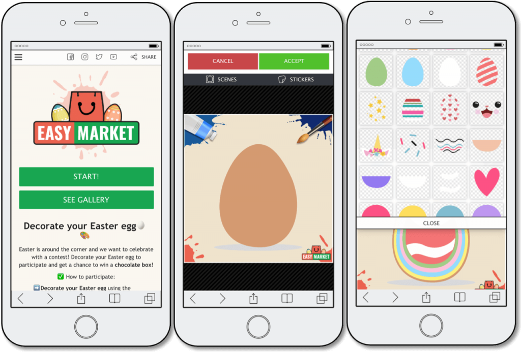 Easter promotion ideas, Scenes app by Easypromos, Decorate your Easter egg