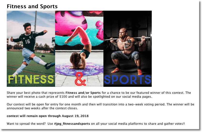 Fitness marketing sports photo contest