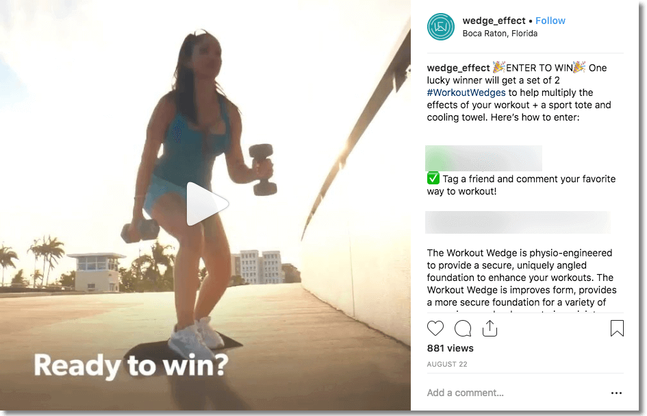 fitness marketing instagram giveaway example