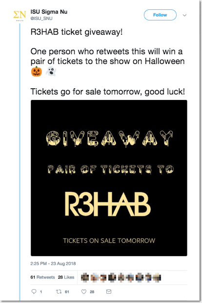 halloween giveaway ideas. Example of a Halloween giveaway on social media: this brand is offering tickets to a Halloween show.