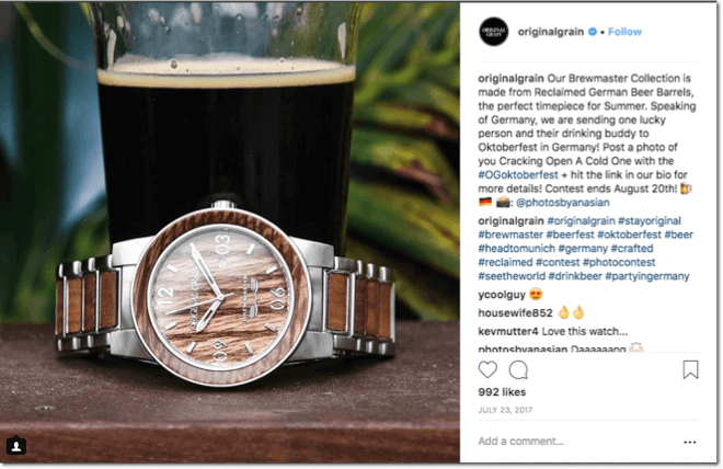 oktoberfest promotion: oktoberfest instagram giveaway. image of dark beer with a brown watch.