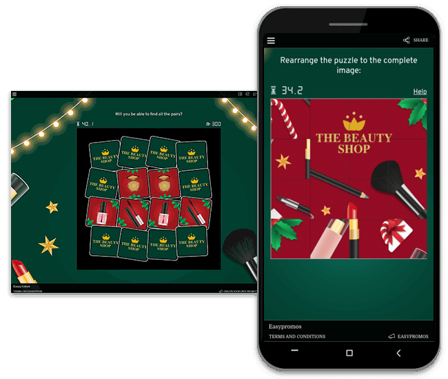 Christmas promotion ideas for 2020: screenshot of branded Christmas Memory and Puzzle games from Easypromos