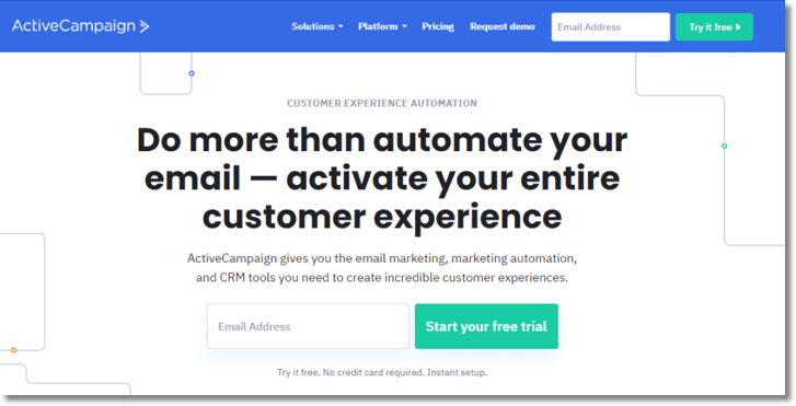"""Screenshot of the Active Campaign website. The main title reads: """"Do more than automate your email - activate your entire customer experience."""""""