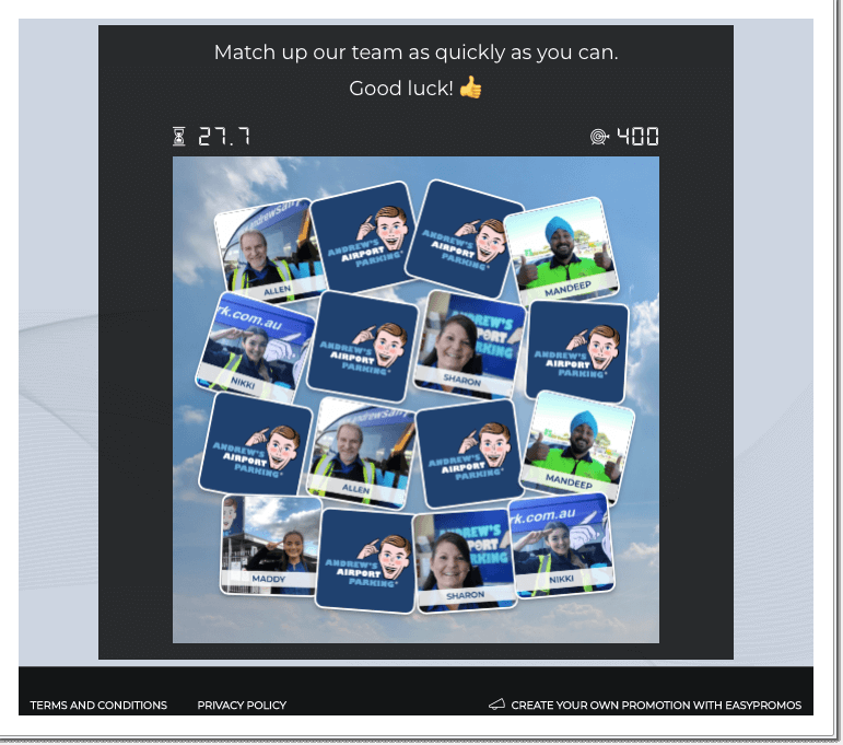 Screenshot of Andrew's Airport Parking branded Memory game. Pictures of employees in the game