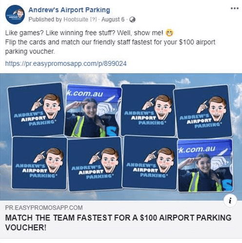 Andrew's Airport Parking social media campaign promoting the branded memory game on facebook