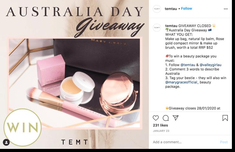 Australia Day giveaway. Screenshot of an instagram giveaway organized for Australia day by Temtau.